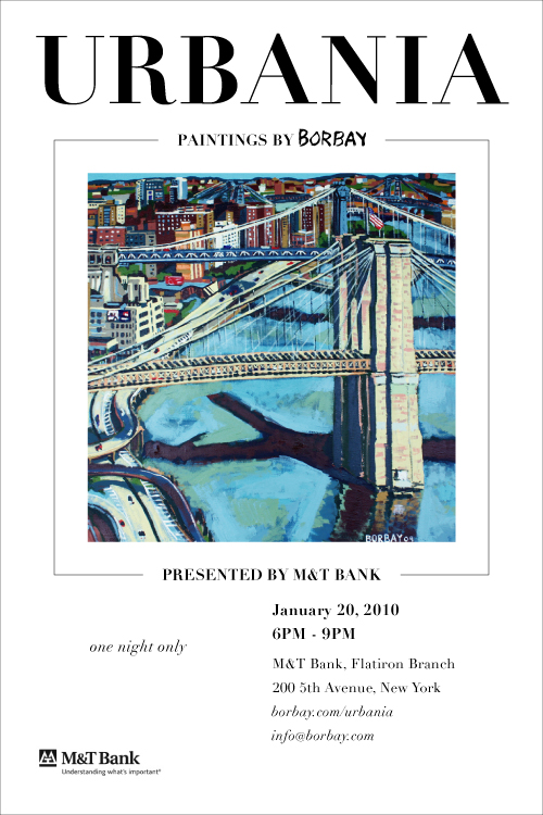 Urbania Art Exhibit by Borbay, January 20, 2010, 6PM-9PM, at M&T Bank, Flatiron, 200 5th Avenue