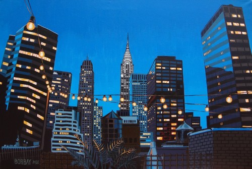 Chrysler Building Painting at Night by Borbay