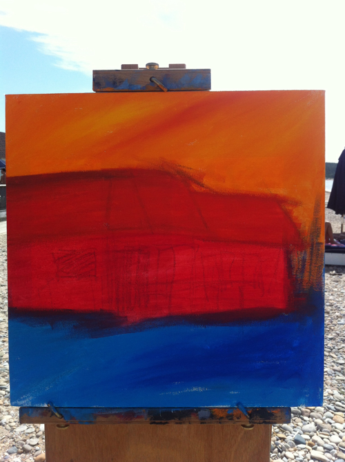Navy Beach Montauk Painting Process by Borbay