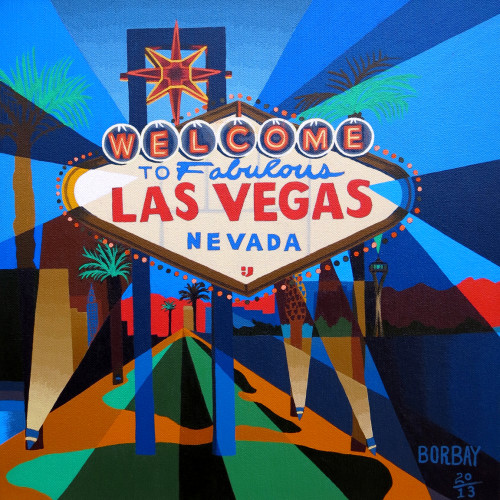 Welcome to Las Vegas Painting by Borbay