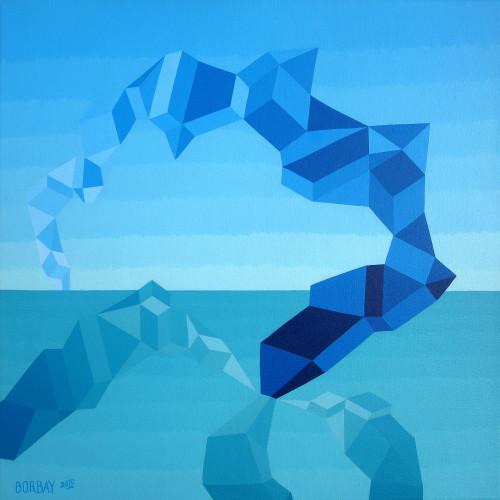 Mindscape Exuma Blue Painting by Borbay