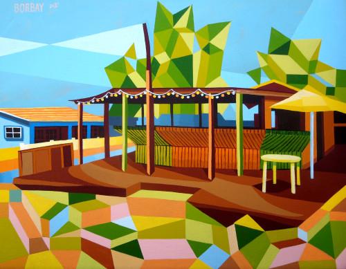 Painting of Santanas on Little Exuma The Bahamas by Borbay