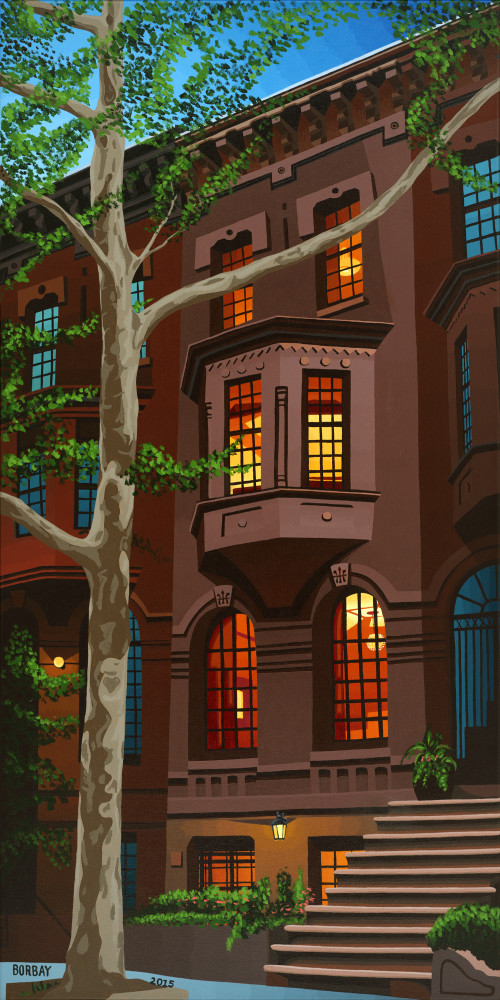 Upper East Side Townhouse Portrait at Twilight — a Painting by Borbay