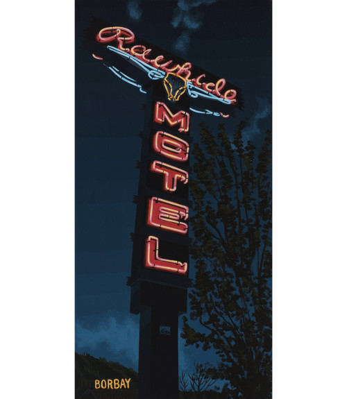 Rawhide Motel Neon Sign Painting by Borbay Gallery Format