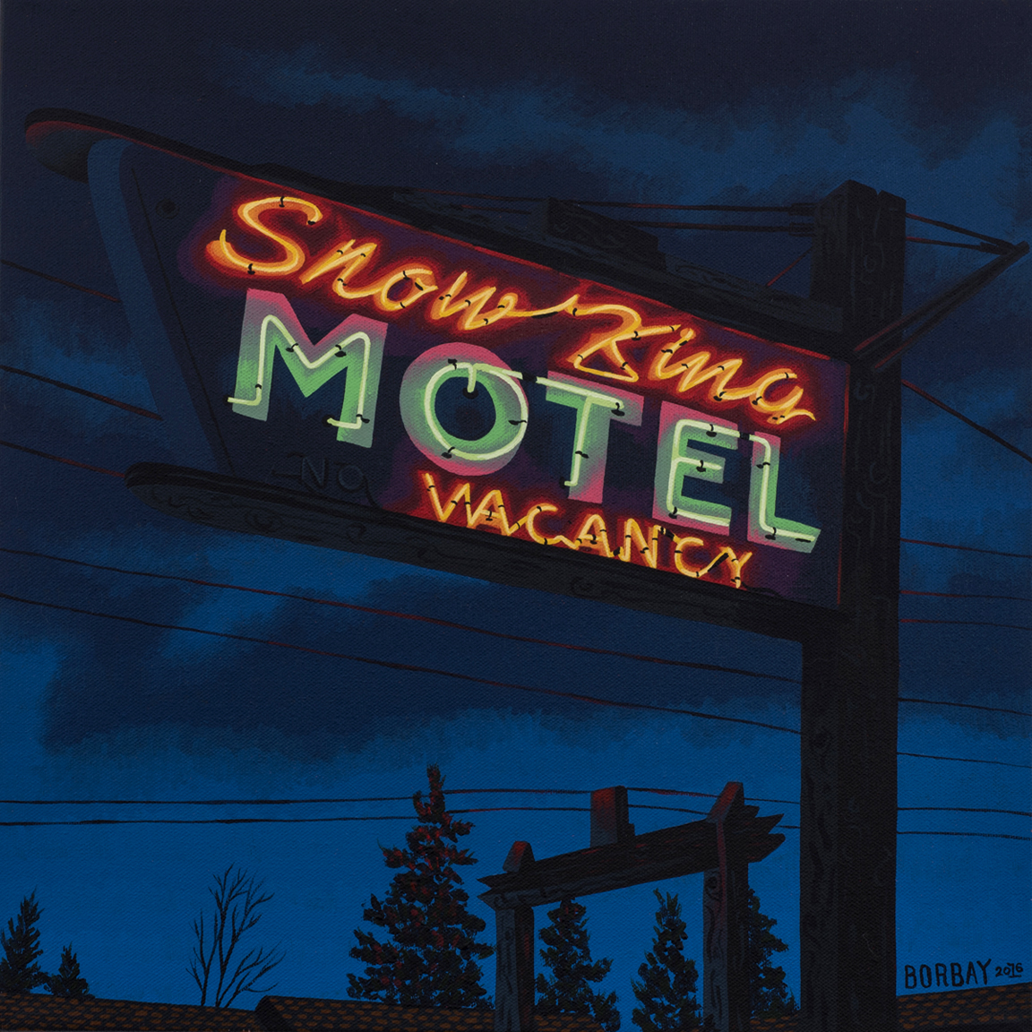 Snow King Motel Glowing Neon Sign Painting