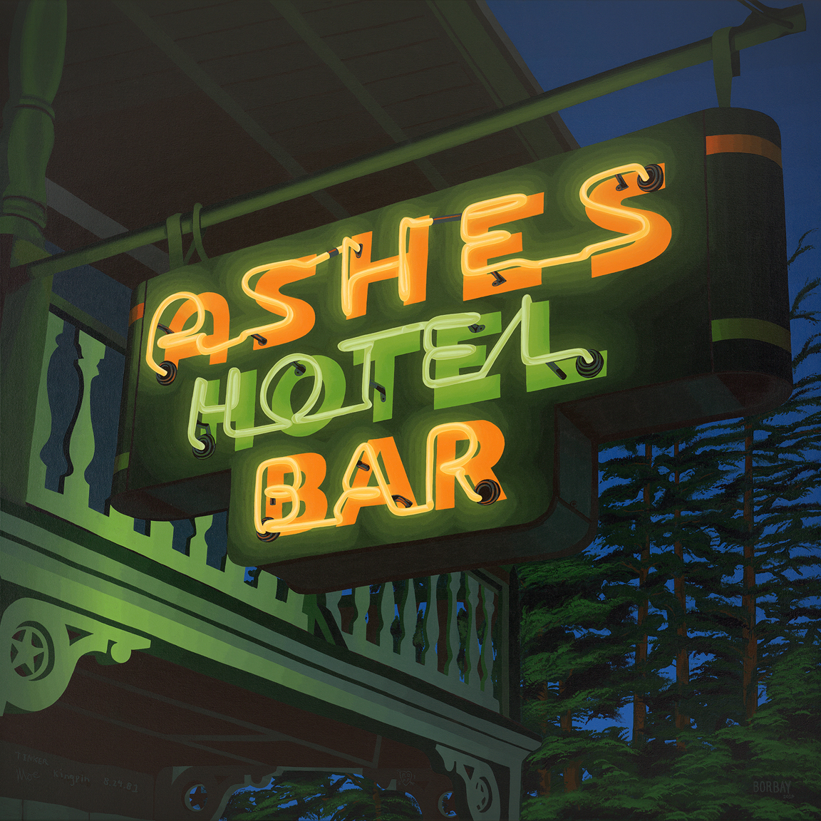 Ashes Hotel Bar Neon Painting by Borbay
