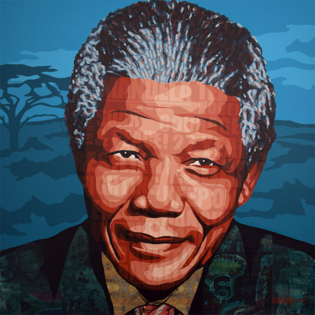 Nelson Mandela Collage Painting by Borbay