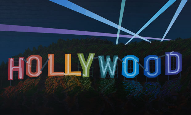 Hollywood Sign Neon Painting by Borbay 2017