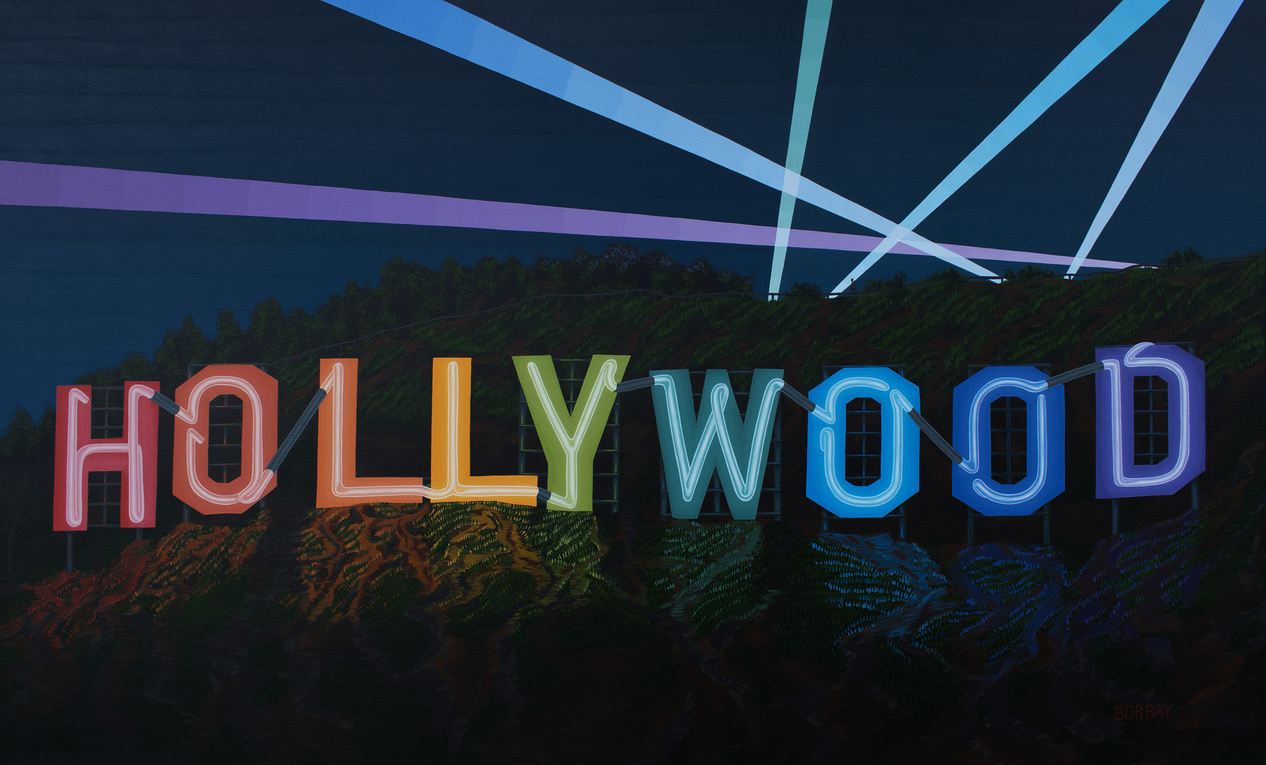 Hollywood Sign Neon Painting by Borbay – BORBAY  Hollywood Sign ...
