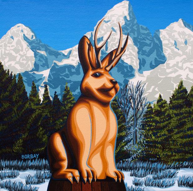 Jackson Hole Jackalope Painting by Borbay