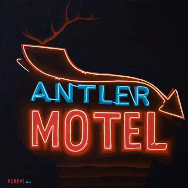 Antler Neon Sign Session Painting by Borbay