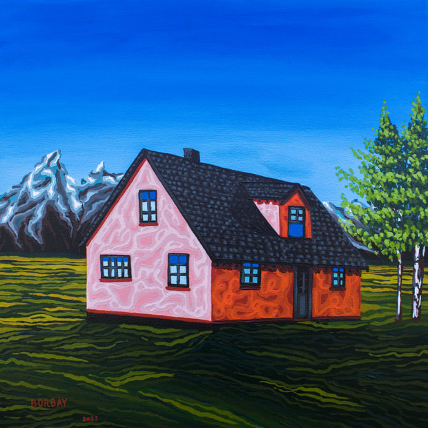 Pink House John Moulton Ranch Jackson Hole Painting by Borbay
