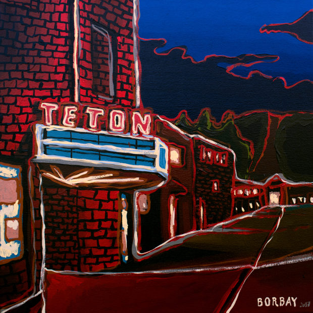 Teton Theater Night Painting by Borbay