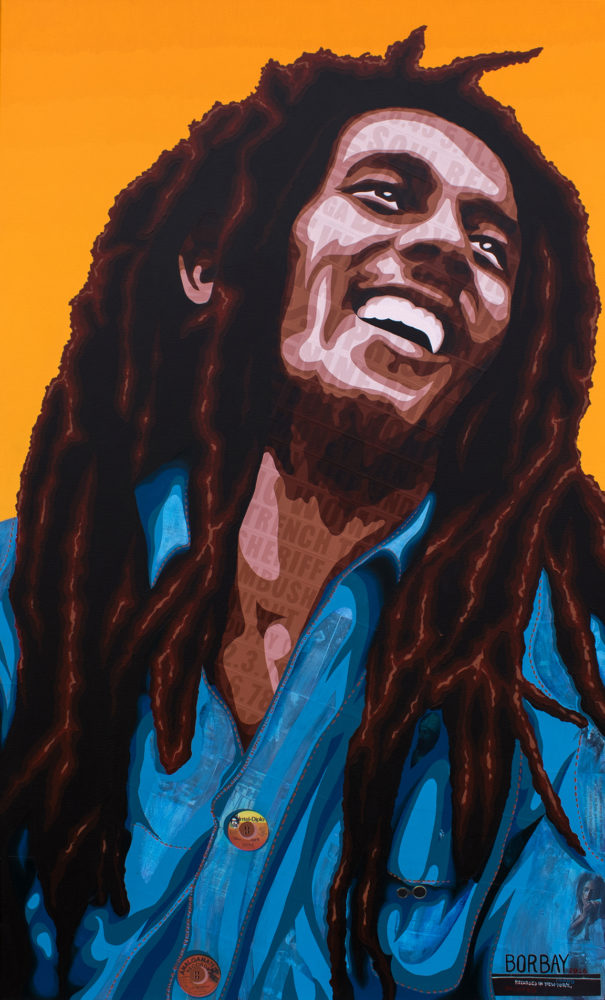 Bob marley collage painting borbay for Bob marley mural